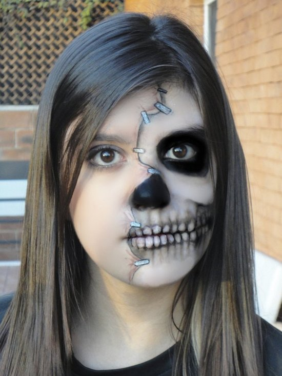 creepy makeup double skull makeup half face skull - Skeleton Face Paint For Halloween