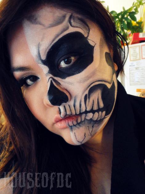 half skeleton makeup