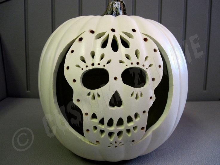 mexican skull pumpkin