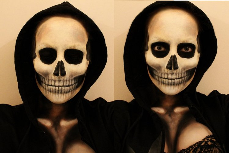skull makeup by lekstedt - Halloween Skull Face Paint Ideas