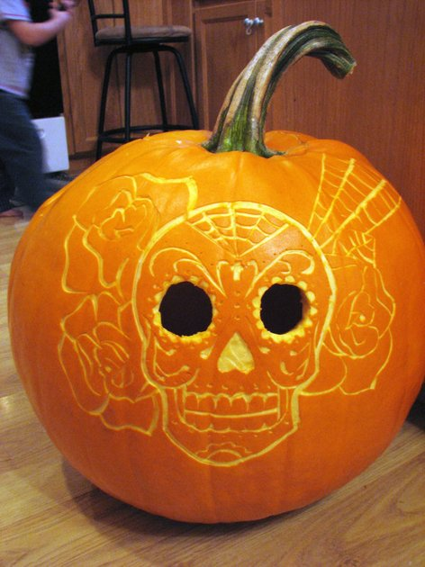 skull pumpkin idea