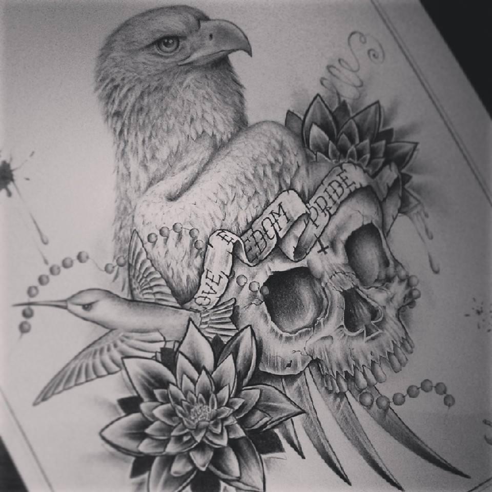 eagle skull ink design by edward miller. Black Bedroom Furniture Sets. Home Design Ideas