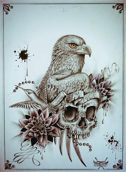 Eagle Skull ink design by Edward Miller
