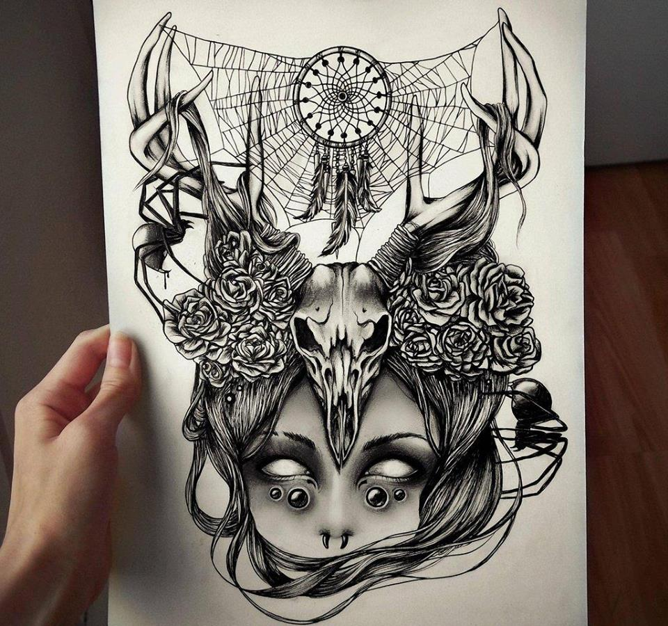 Skeleton drawings by death by crimson