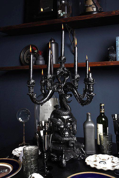 Black Skull Candelabra