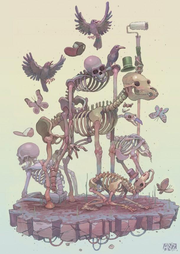 Skeleton illustrations by Aryz 1