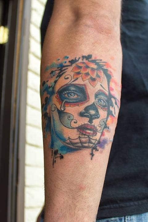 Watercolor skull tattoos by Britta Christiansen 1