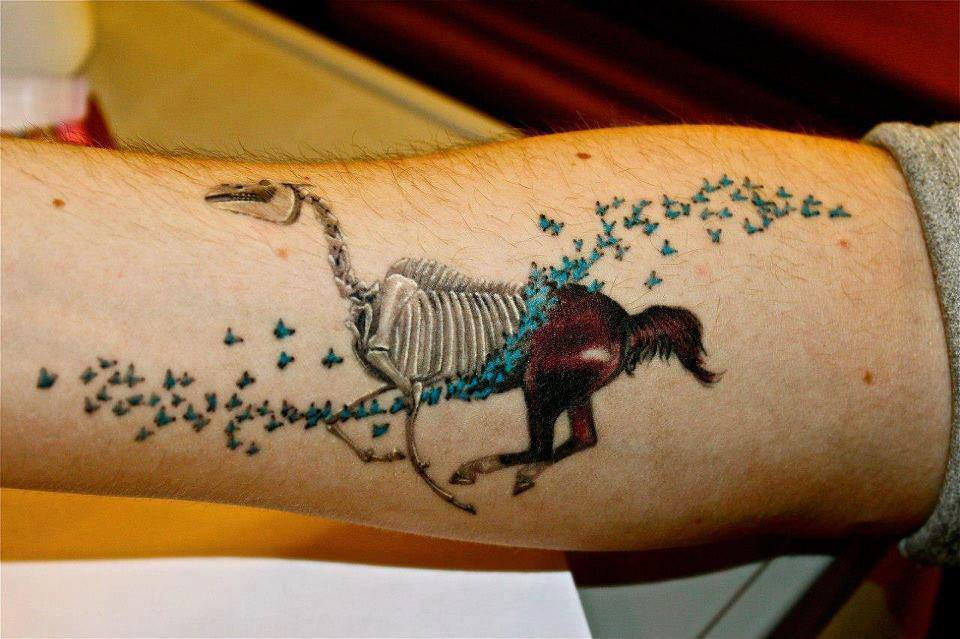 horse skeleton tattoo