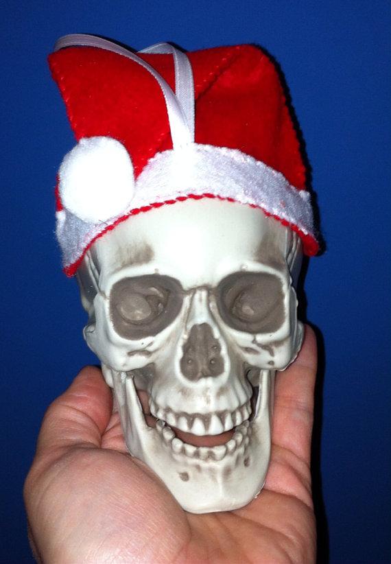 santa skull ornament