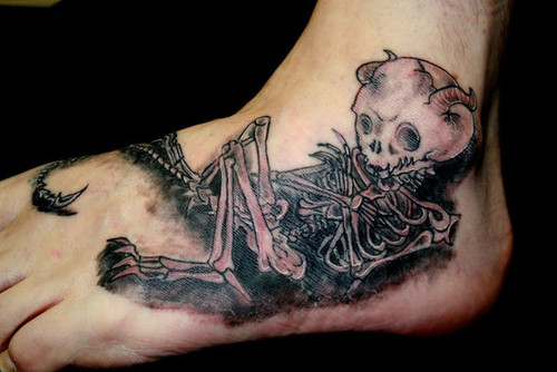 skeleton foot tattoo