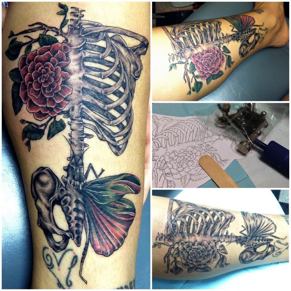 skeleton rib cage tattoo designs