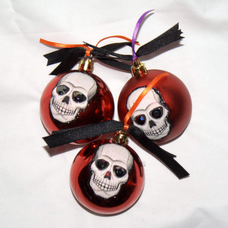 skull red christmas ornaments