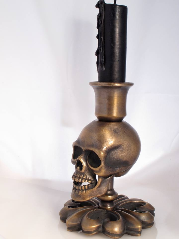 Bronze Skull Candlestick by Jeff Deegan Designs