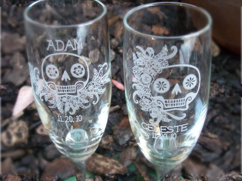Engraved Sugar Skull Wedding Glasses