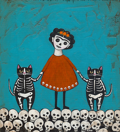 Frida and Skellie Cats by Ryan Conners