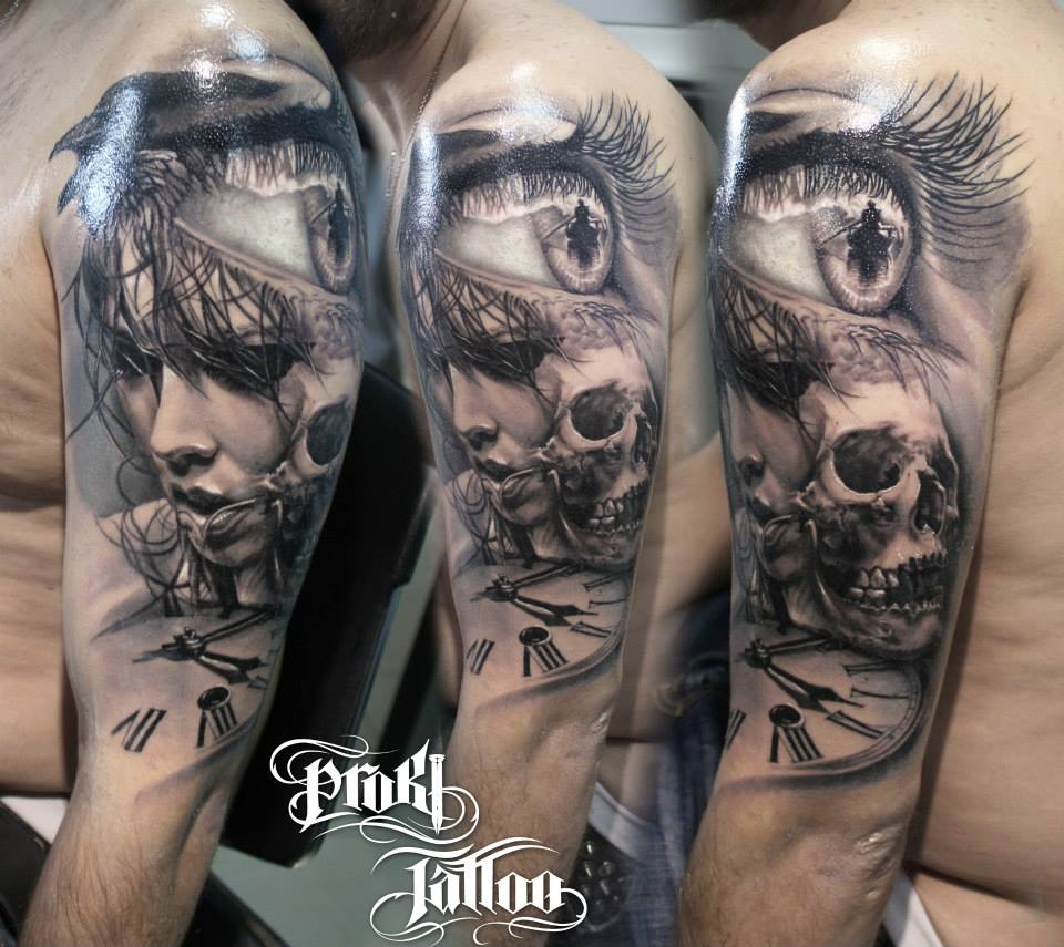 Kostas Baronis Proki new skull tattoo