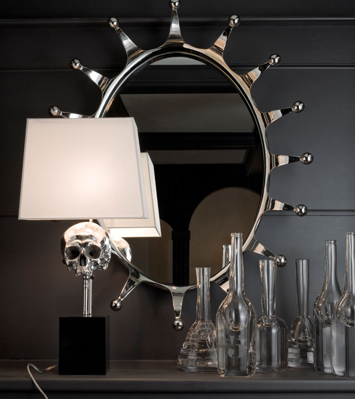 Nickel Plated Skull Lamp (2)
