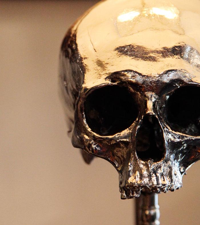 Nickel Plated Skull Lamp (3)