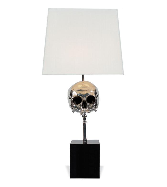 Nickel Plated Skull Lamp