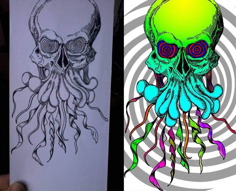 Psychedelic Skull by Heiridiane Milhomem 1