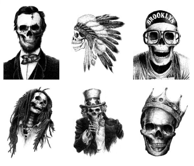 Skeletal ink pen portraits by Motohiro Nezu
