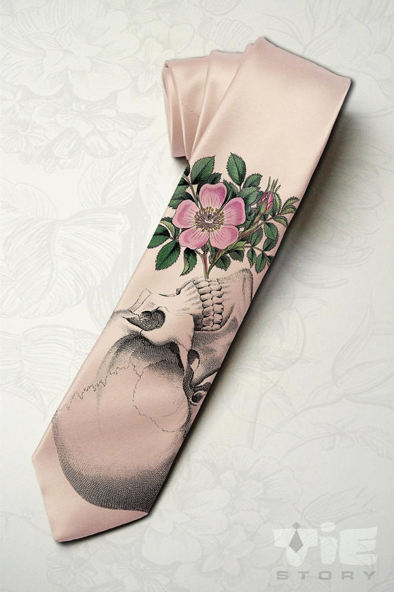 Skeleton wedding necktie 1