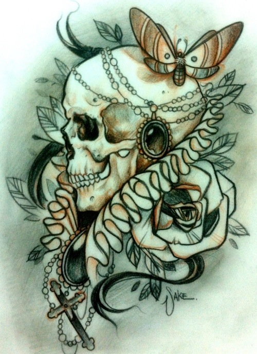 skull tattoo sketches by giannis karampetsos