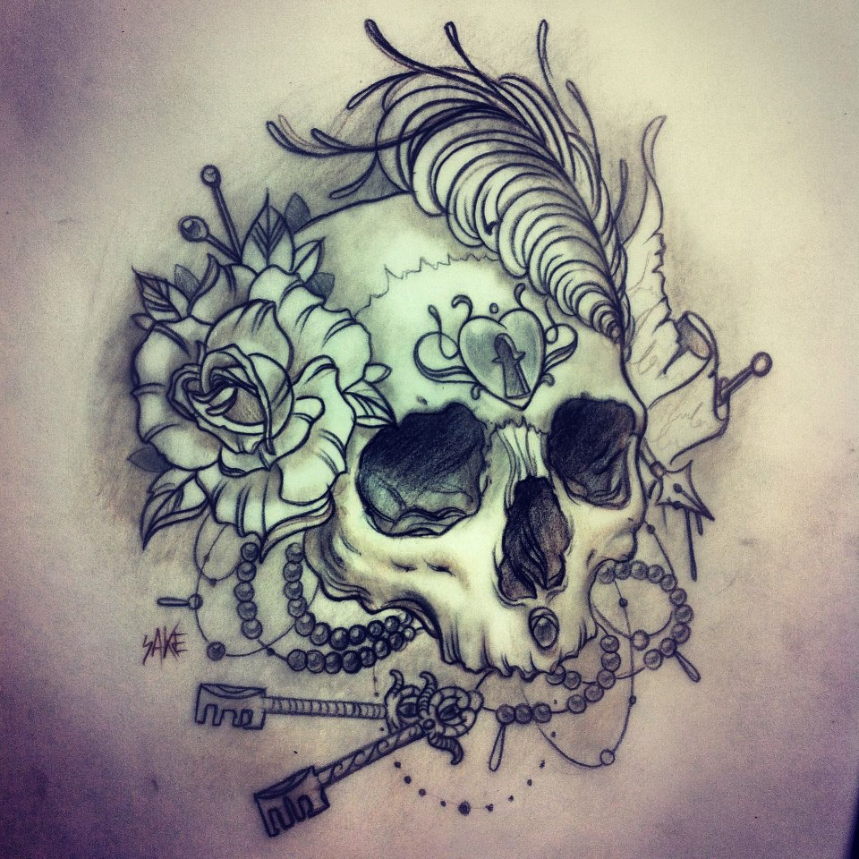 Skull tattoo sketch (3)