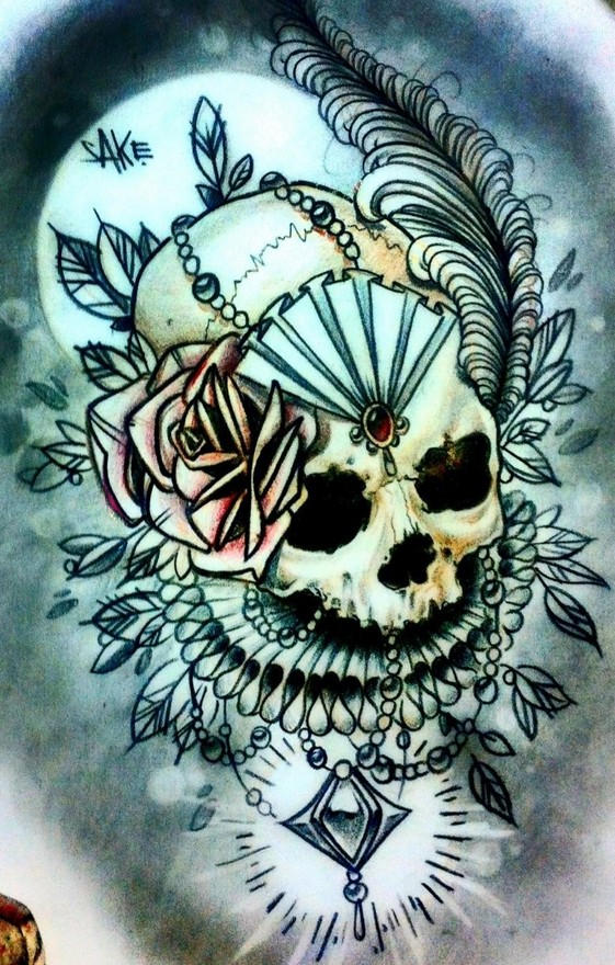 Skull tattoo sketches by Giannis Karampetsos (2)