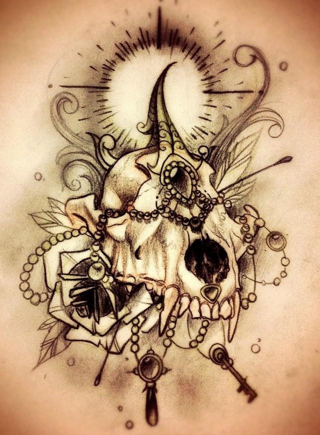 Skull tattoo sketches by Giannis Karampetsos (3)