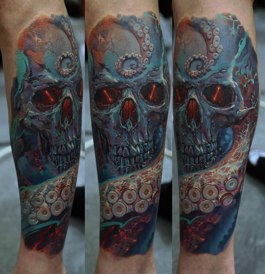 Skull tattoo by Dmitriy Samohin