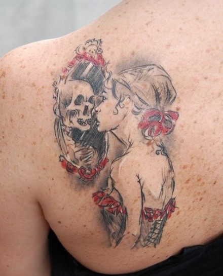 Skull tattoo inspired by the Never Lasting drawing