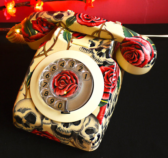 Skulls and Roses Vintage Phone