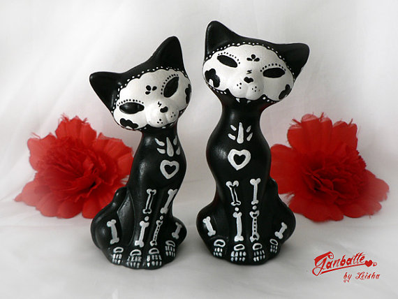 Sugar skull cat sculptures