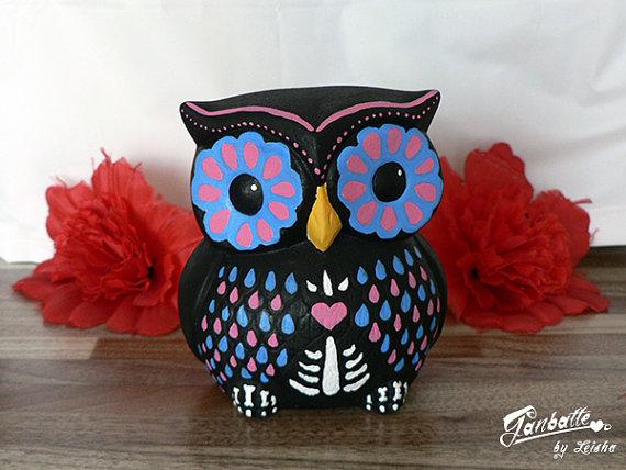 Sugar skull owl sculpture