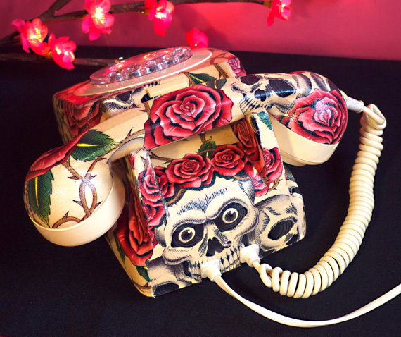 Unique Skulls and Roses Vintage Phone