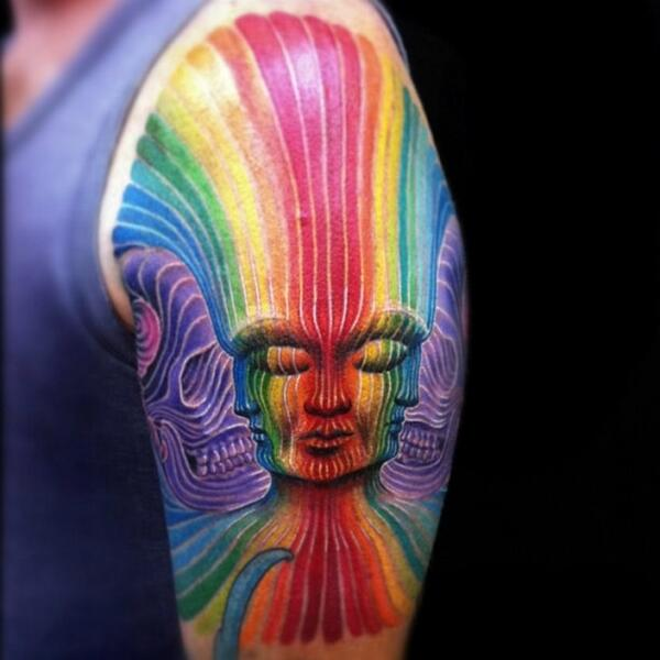 Tattoos inspired by Alex Grey's Interbeing (2)