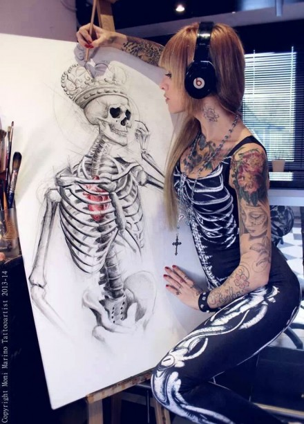 Skeleton drawing by Moni Marino