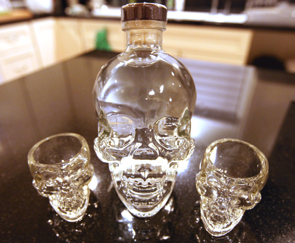 crystal head bottle and shot glasses