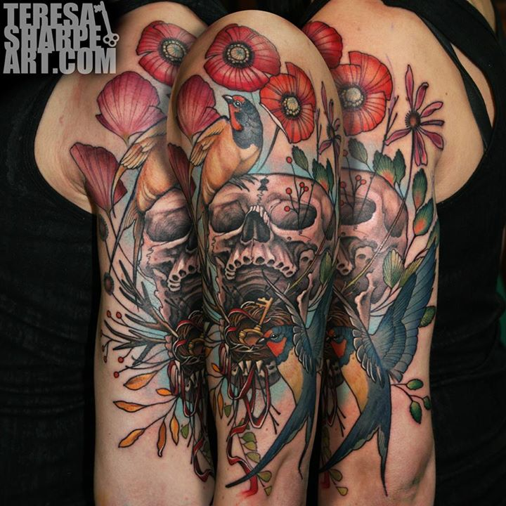 Skull tattoos by Teresa Sharp