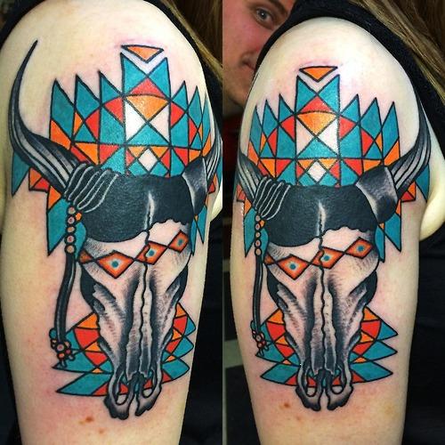 bull skull tattoo (3)