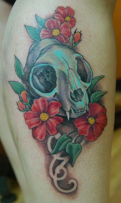 cat skull tattoo (4)