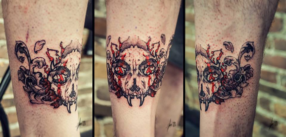 cat skull tattoo (5)