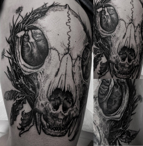 cat skull tattoo