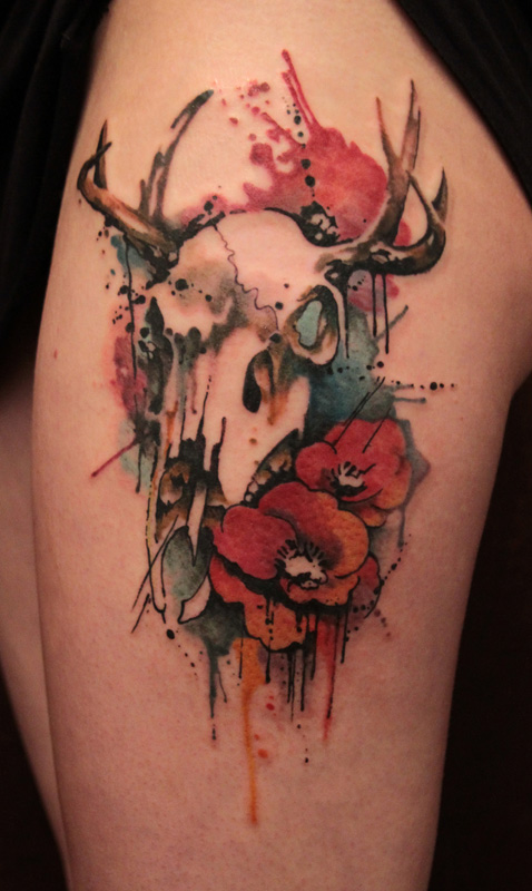 deer skull tattoo (2)