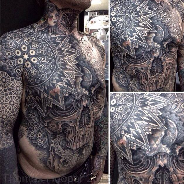 Full Body Skull Tattoo by Thomas Hooper