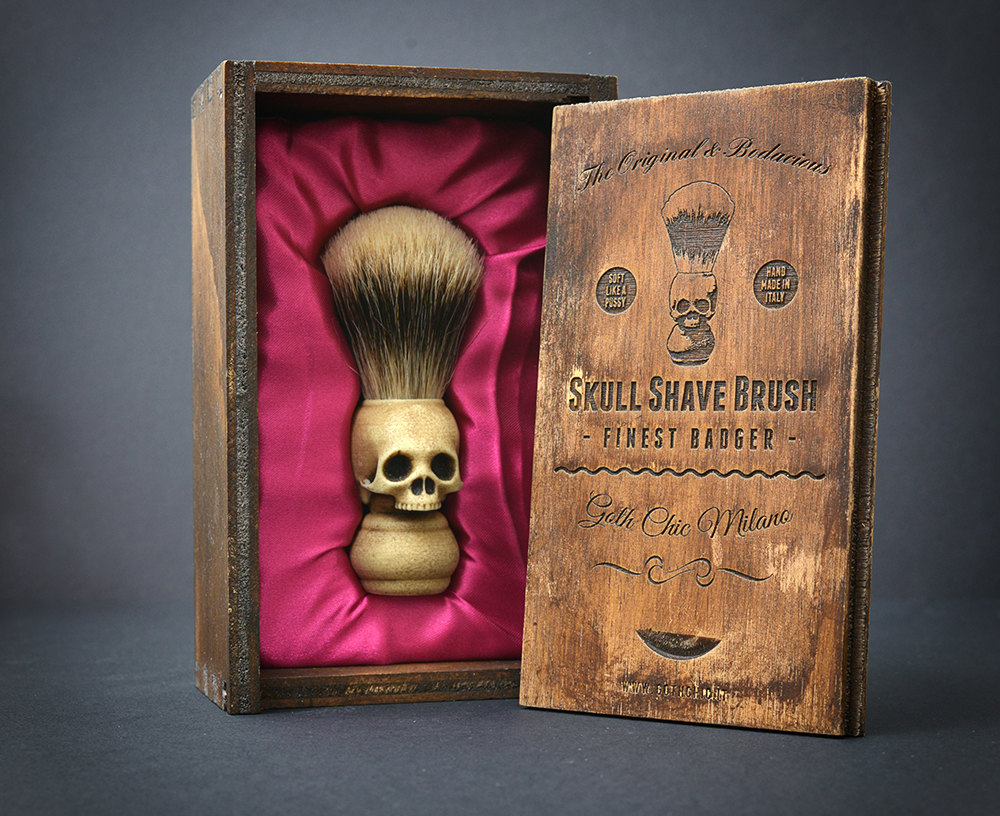 Skull Shaving Brush by Goth Chic