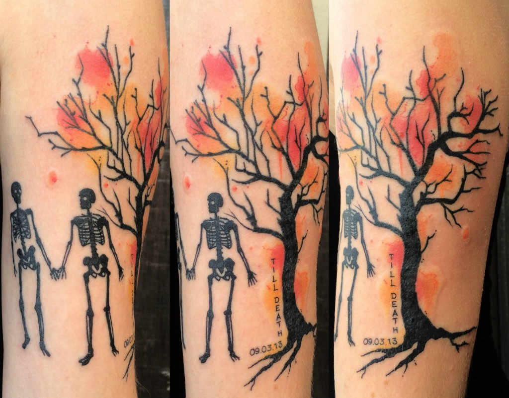 Watercolor tree with skeletons