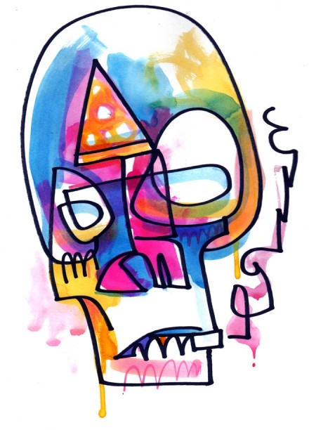 Pizza Skull by Jon Burgerman