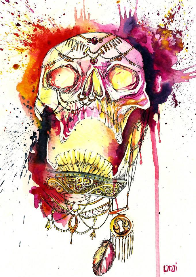 Skull Watercolor Illustration